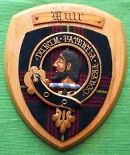 Vintage Scottish Clan Muir Tartan Heavy Oak Plaque Crest Shield