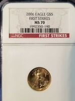 2006 GOLD EAGLE 5 DOLLARS G$5 NGC MS 70 FIRST STRIKE PERFECTION !!!