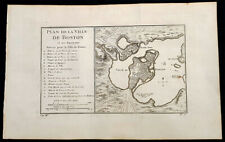 1756 Nicolas Bellin Antique Map of the City of Boston & Charlestown & Harbor