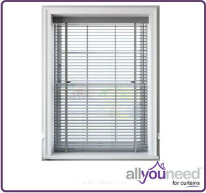 NEW Faux Wood Venetian Blinds With Tapes 50mm Slats Light Grey