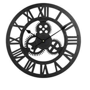 40CM Large Skeleton Metal Roman Wall Clock Big Numerals Giant Open Round BLACK
