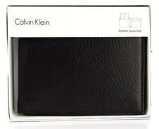 NEW CALVIN KLEIN CK MEN'S LEATHER ID PASSCASE WALLET KEY CHAIN SET BROWN 79368
