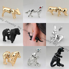 1Pair Cool Punk 3D Animal Pierced Stud Earrings Crystal Ear Cuff Party Jewelry
