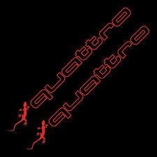 2x Quattro gecko Audi Aufkleber Sticker A3-A4-A6-A8-RS3-RS4.. Rot