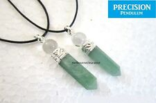 Emerald Jade Point with Quartz Crystal Top Pendant Necklace
