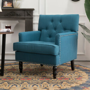 Upholstered Chesterfield High Back Fabric Armchair Queen Anne Chair Sofa Lounge