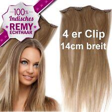 4 Clips Tresse 14 cm Remy Echthaar 45 60 cm Clip In Extensions Haarteil 16g 20g