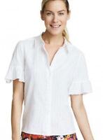 NWT Draper James Roxanne Ruffle Button Down White Shirt Blouse Size 4 $165