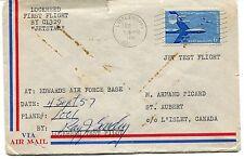 FFC 1957 First Flight Littlerock CA Jet Test Flight JetStar Islet Canada signed