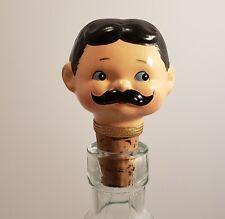 Vintage HTF Japan Ceramic Gentleman Character Cork Bottle Stopper Cork Enesco