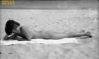 naturist nude girl dreaming on beach, 1970s vintage fine art negative!