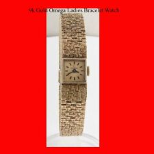Mint 9K Gold Swiss Omega 17J Ladies Retro Bracelet Wrist Watch 1968