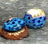 10pcs handmade Lampwork glass Oblate blue sea beads  14mm*20mm