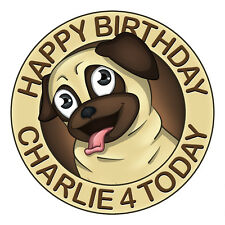 PUG PERSONALISED EDIBLE ICING IMAGE PARTY CAKE TOPPER ROUND