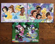 Disney 3 Wood Puzzles Set Princesses,Minnie, & Fairies - Wood Storage Box