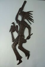 "21"" Dancing Music Man Haitian Steel Drum Lid Wall Art Bird Handmade"