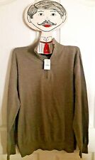 New J. Crew Sweater Pullover Gray Brown Zip Winter size XL 100% Cotton