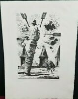 Eugene Burman  LEANING FLAMING COLUMN  Lithograph Edition 25/25 Pencil Signed