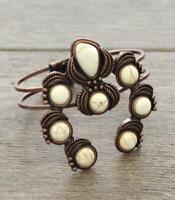 Copper Tone Squash Blossom Design Faux White Stones Bracelet Open Front