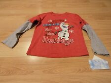 Size 4T Disney Frozen Olaf Chillin' for the Holidays Red L/S Shirt Top New