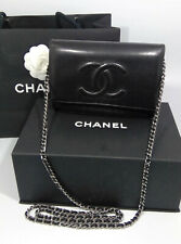Chanel Authentic Wallet on Chain Black Lambskin CC Silver Crossbody Bag +Box