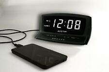 Acctim Eos LED Alarm Clock Snooze Smart Connector USB Powered Autoset - black