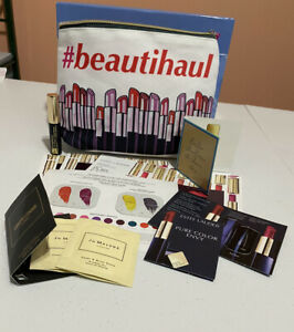 Lot Of Estee Lauder Samples, Lipsticks, Pure Fragrance, Mascara & Cosmetic Bag,