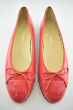 Chanel 16C Coral Red Patent Leather Classic CC Logo Ballet Ballerina Flats 39.5