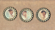 Graphic45 LITTLE DARLINGS #304 (3) Silver Flat Bottle Cap Accents SLEEPING BABY