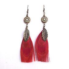 12cm long bronze leaf and peacock eye feather dangle earrings