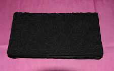 borsa pochette pizzo macramè nero raso e specchio 20x10x2 Vintage Bag V4 ^