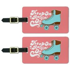 Roller Skates Derby Keep On Rolling Luggage ID Tags Cards Set of 2