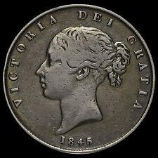 1845/3 Queen Victoria Young Head Silver Half Crown