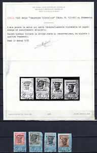 ITALY 1922 ITALIAN CONGRESS COMPLETE SET OF USED STAMPS CERTIFICATE RAYBAUDI