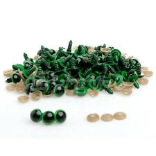 5 pairs of 12mm Green Safety Teddy Bear Eyes. 10 units Washers. Soft FREE POST