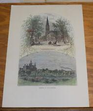 c1880 Antique COLOR Print///SCENES IN PROVIDENCE, RI