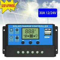 10-30A Solar Panel Battery Charge Controller 12V 24V LCD Regulator Auto Dual USB