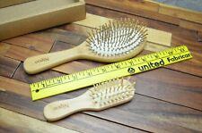Nipoo Wooden Paddle Hair Brush with Mini Travel Brush Bamboo Bristle Hairbrush