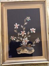 vintage mother of pearl Coral Rock Picture Art