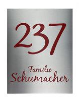 Hausnummer mit Nummer und Straßenname aus Edelstahl S3154