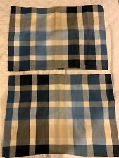 Pottery Barn Teen 2 Blue Plaid Standard Pillow Shams Excellent Condition