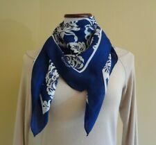 Vtg Echo Dark Blue/Silver Gray Floral Pattern Square Silk Scarf