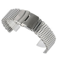 18mm 20mm 22mm Stainless Steel Mesh Watch Band Fold Over Clasp Mens Wrist Strap