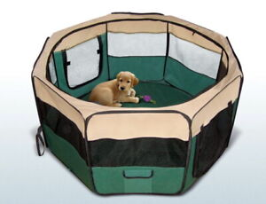 Portable Pet Playpen Puppy Dog Cat Play Pen Soft Crate Cage Enclosure Tent Green