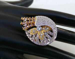 Indian American Diamante Fashion Jewelry Stunning Party wear Ring Free Size pr63