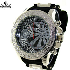 Men's Hip Hop Captain Bling  Fashion Pave Look Bullet Band Watch #1945 New