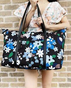 Kate Spade Jae Bold Blooms Floral Weekender Bag Travel Bag Black Blue Multi