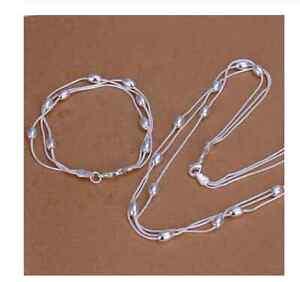 Schmuck Set Collier / Halskette und Armkette  Silber 925