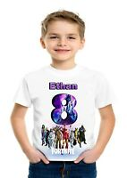 FORTNITE 4 BOYS PERSONALISED BIRTHDAY T-SHIRT/AGES 3-14
