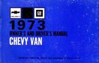 1973 Chevrolet Van Gas Owners Manual User Guide Operator Book Fuses Fluids OEM